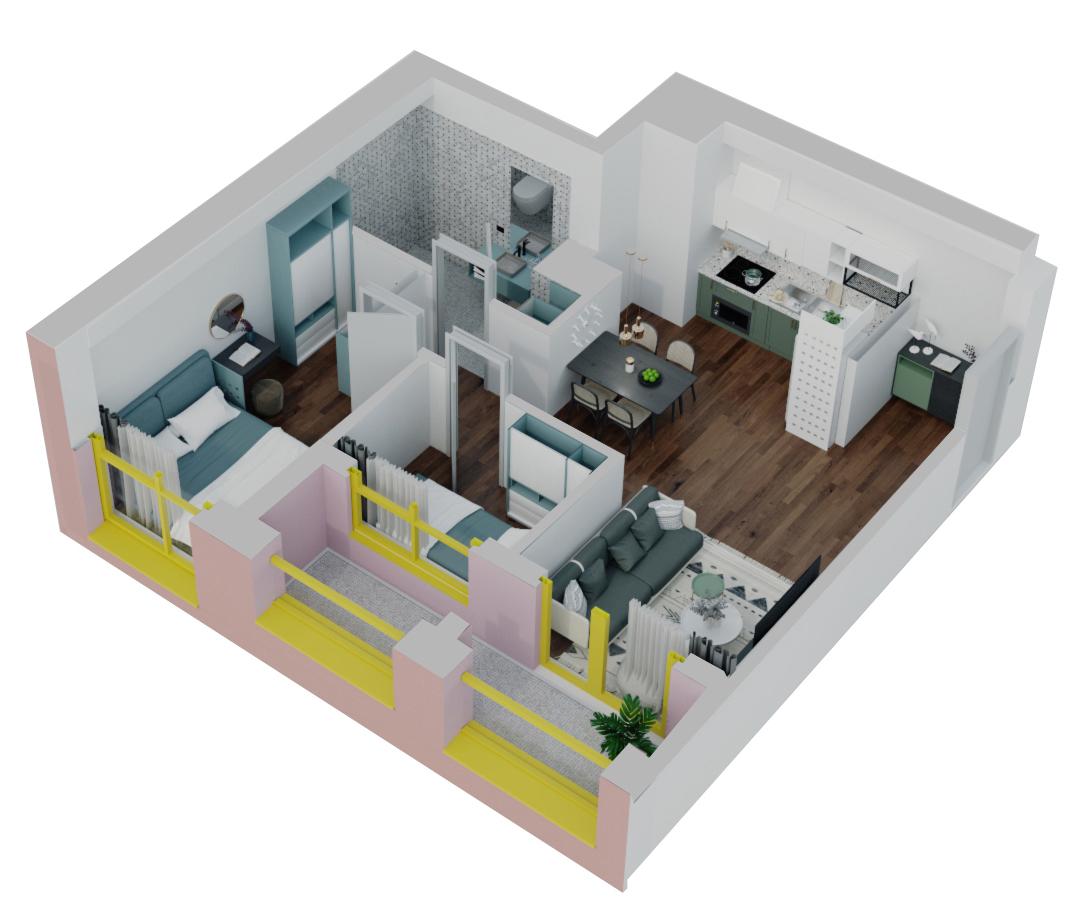 Apartament 2+1 në shitje në Tiranë - Mangalem 21 Shkalla 12 Kati 2
