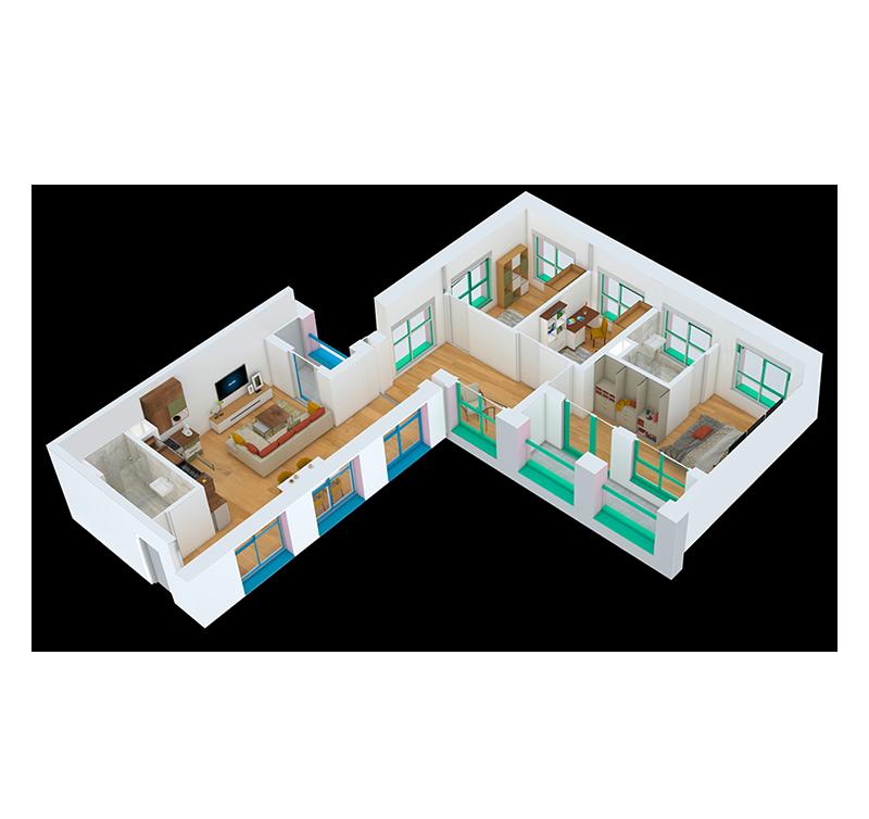 Apartament 3+1 në shitje në Tiranë - Mangalem 21 Shkalla 1 Kati 3