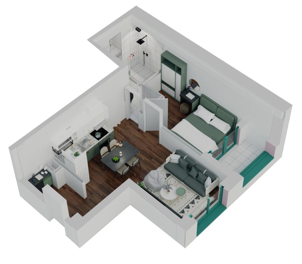 Apartament 1+1 në shitje në Tiranë - Mangalem 21 Shkalla 16 Kati 3