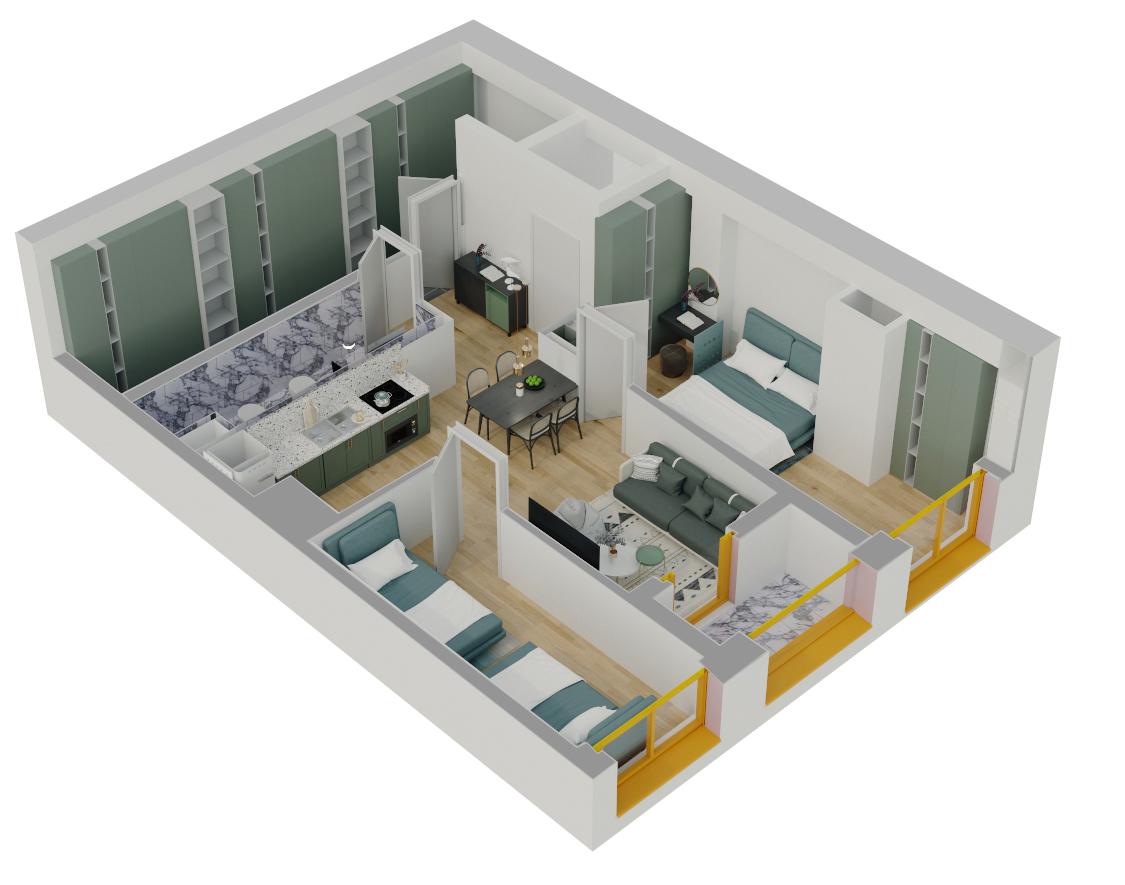 Apartament 2+1 në shitje në Tiranë - Mangalem 21 Shkalla 18 Kati 2