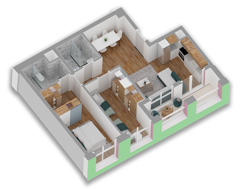 Apartament 2+1 në shitje në Tiranë - Mangalem 21 Shkalla 6 Kati 2