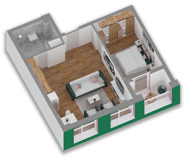 Apartament 1+1 në shitje në Tiranë - Mangalem 21 Shkalla 6 Kati 2