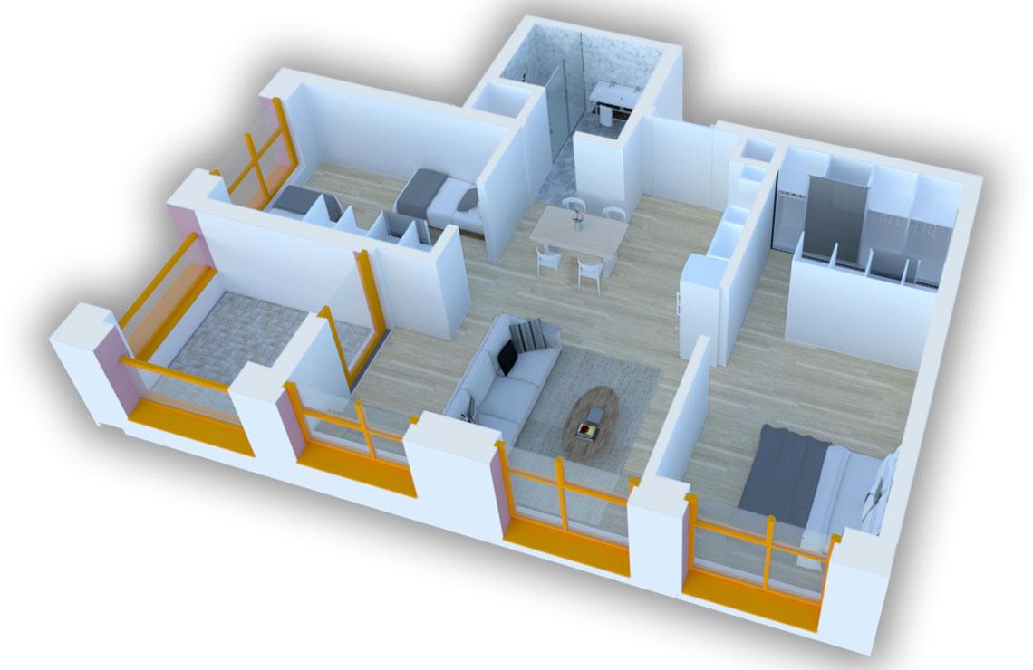 Apartament 2+1 në shitje në Tiranë - Mangalem 21 Shkalla 10 Kati 2
