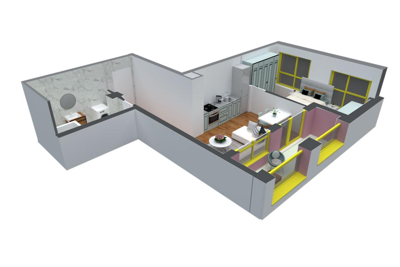 Apartament 1+1 në shitje në Tiranë - Mangalem 21 Shkalla 12 Kati 7