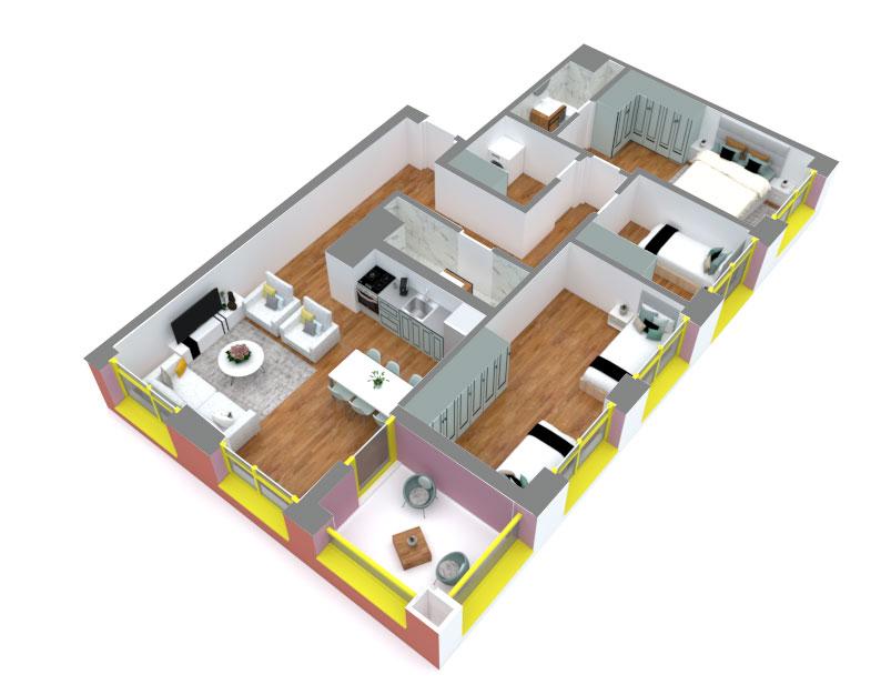 Apartament 3+1 në shitje në Tiranë - Mangalem 21 Shkalla 12 Kati 9