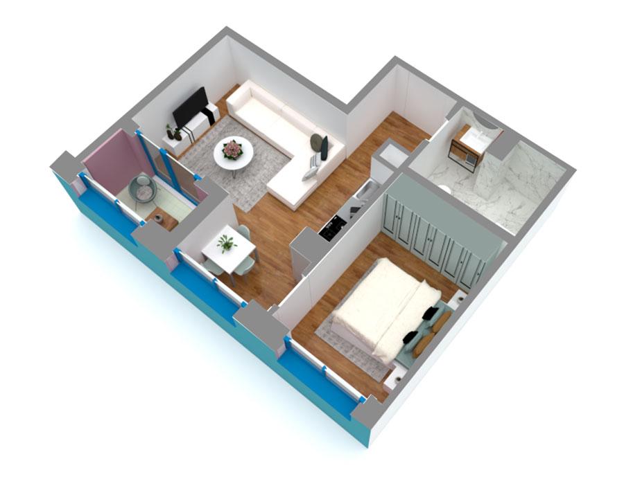 Apartament 1+1 në shitje në Tiranë - Mangalem 21 Shkalla 13 Kati 1