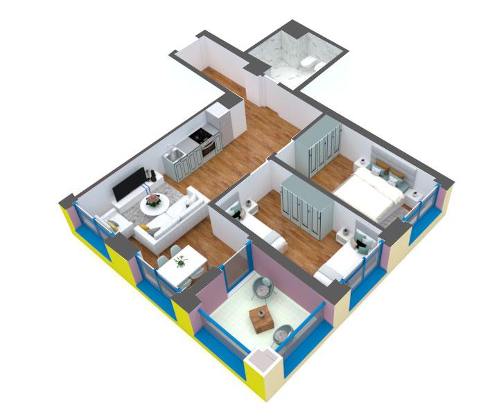 Apartament 2+1 në shitje në Tiranë - Mangalem 21 Shkalla 13 Kati 2