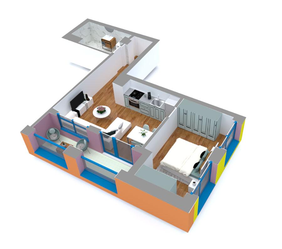 Apartament 1+1 në shitje në Tiranë - Mangalem 21 Shkalla 13 Kati 5