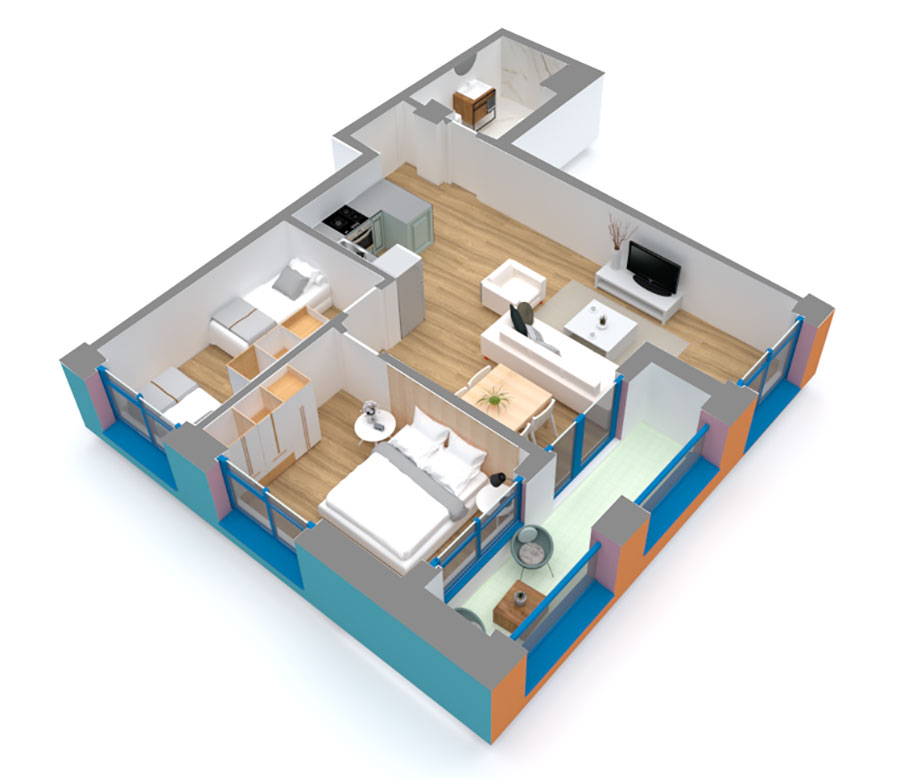 Apartament 2+1 në shitje në Tiranë - Mangalem 21 Shkalla 13 Kati 5