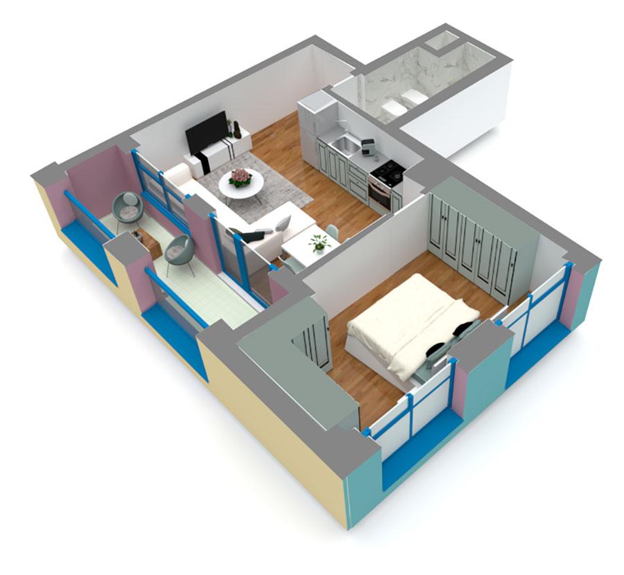 Apartament 1+1 në shitje në Tiranë - Mangalem 21 Shkalla 13 Kati 6