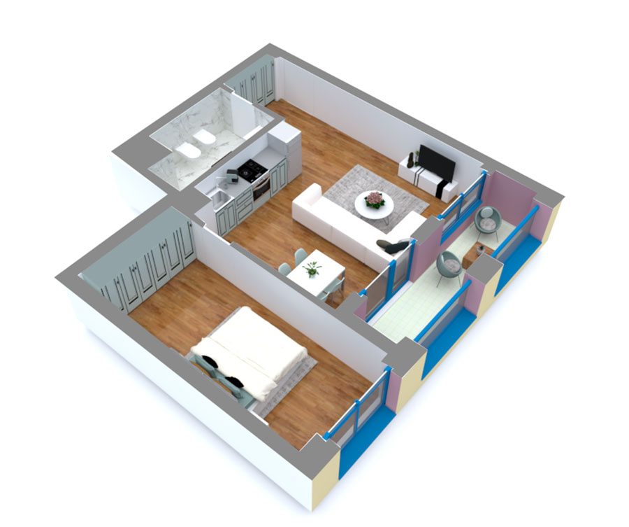 Apartament 1+1 në shitje në Tiranë - Mangalem 21 Shkalla 13 Kati 4