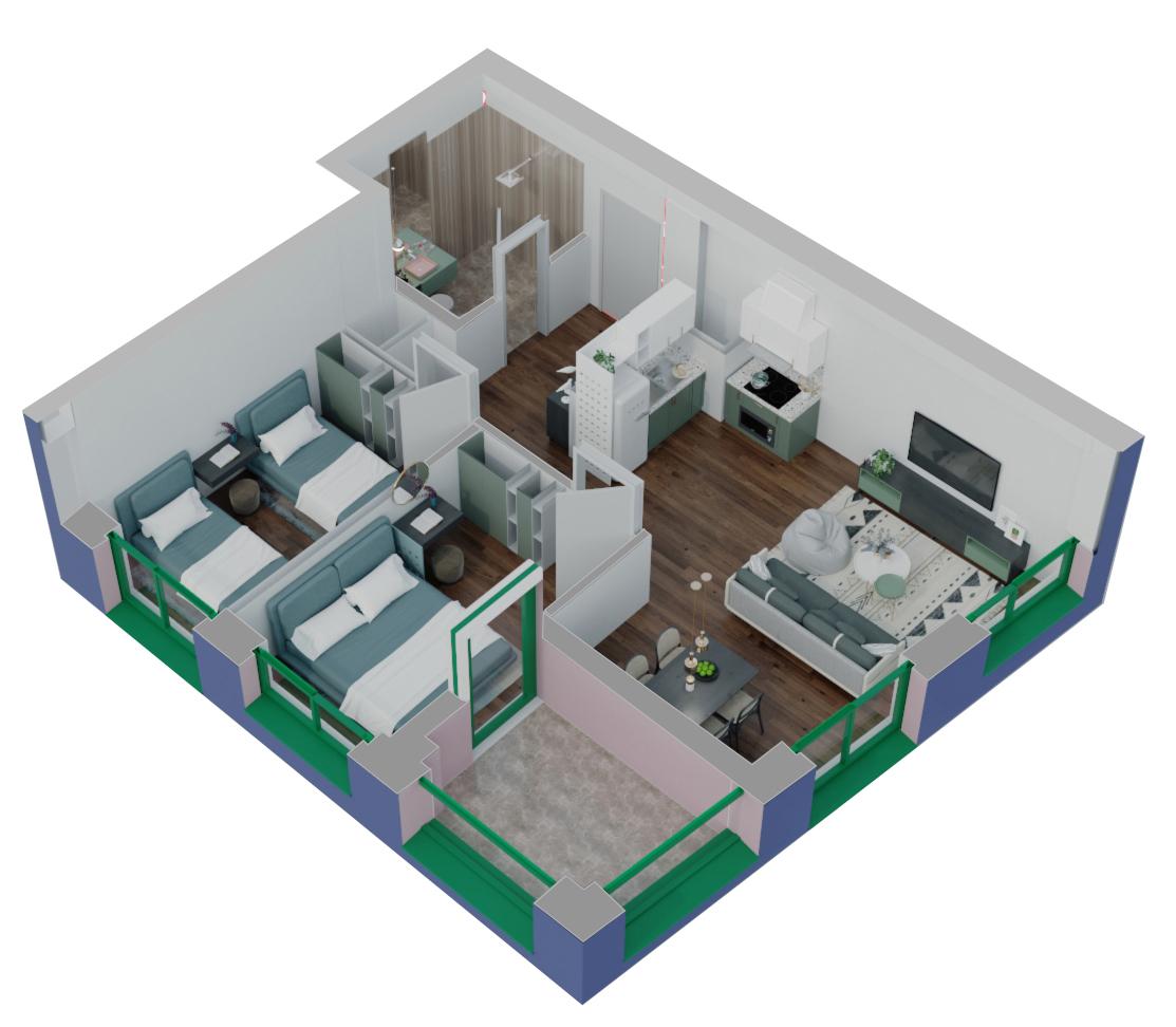 Apartament 2+1 në shitje në Tiranë - Mangalem 21 Shkalla 15 Kati 5