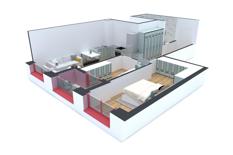 Apartament 2+1 në shitje në Tiranë - Mangalem 21 Shkalla 14 Kati 7