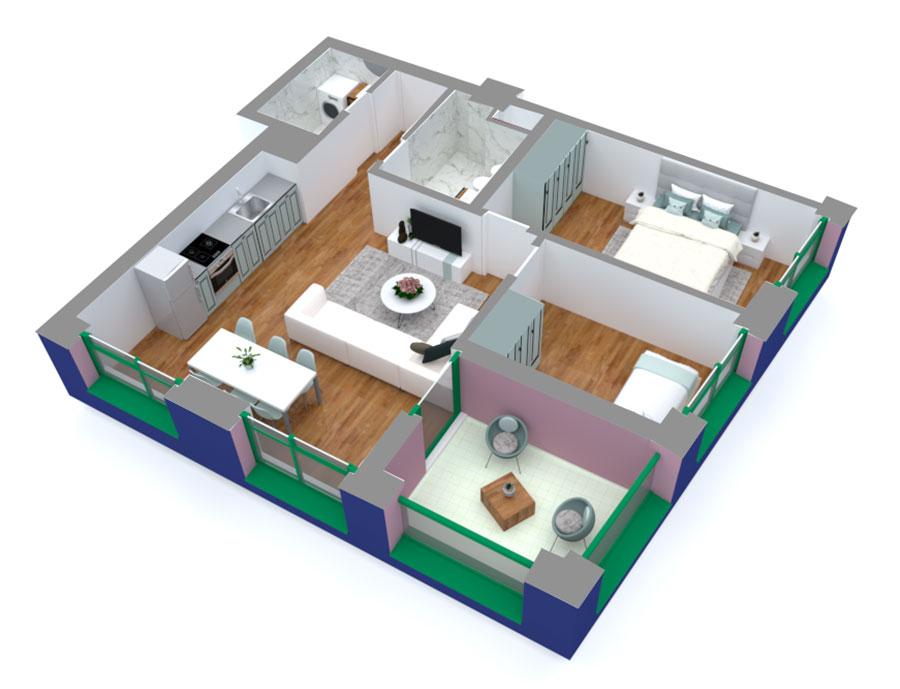 Apartament 2+1 në shitje në Tiranë - Mangalem 21 Shkalla 15 Kati 9