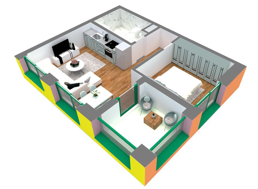 Apartament 1+1 në shitje në Tiranë - Mangalem 21 Shkalla 15 Kati 2