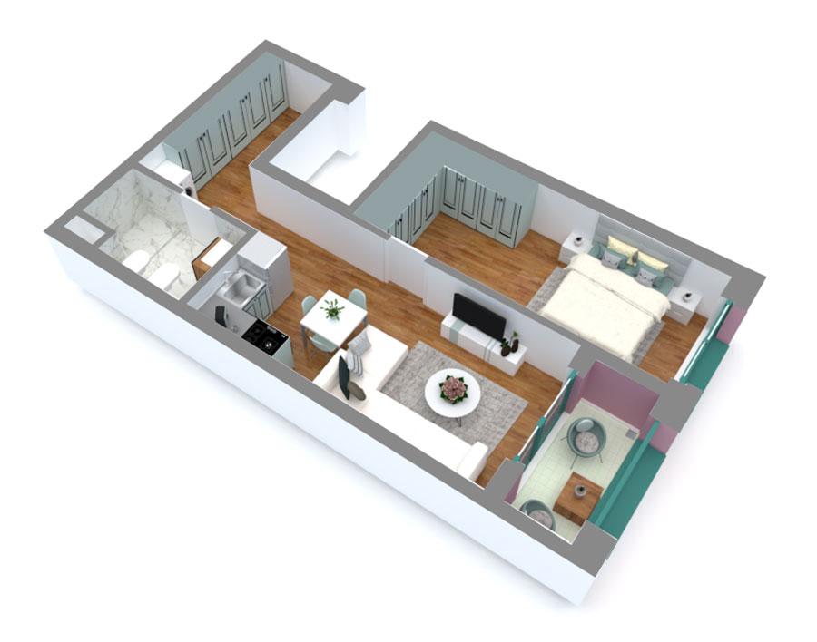 Apartament 1+1 në shitje në Tiranë - Mangalem 21 Shkalla 16 Kati 4