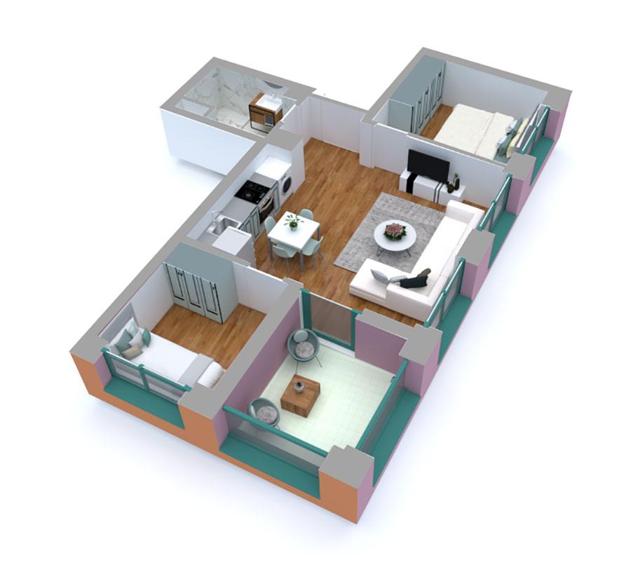 Apartament 2+1 në shitje në Tiranë - Mangalem 21 Shkalla 16 Kati 2