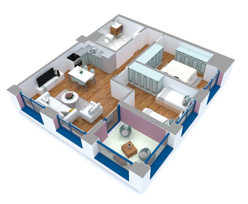 Apartament 2+1 në shitje në Tiranë - Mangalem 21 Shkalla 16 Kati 3