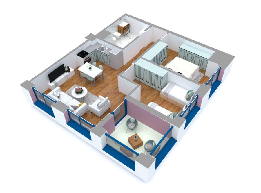 Apartament 2+1 në shitje në Tiranë - Mangalem 21 Shkalla 16 Kati 4