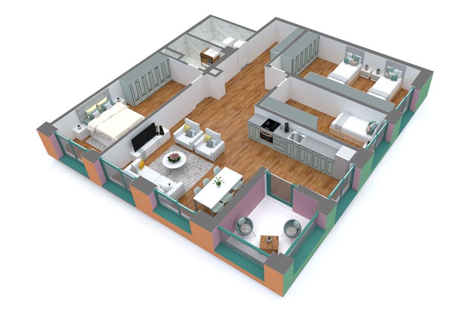 Apartament 3+1 në shitje në Tiranë - Mangalem 21 Shkalla 16 Kati 8