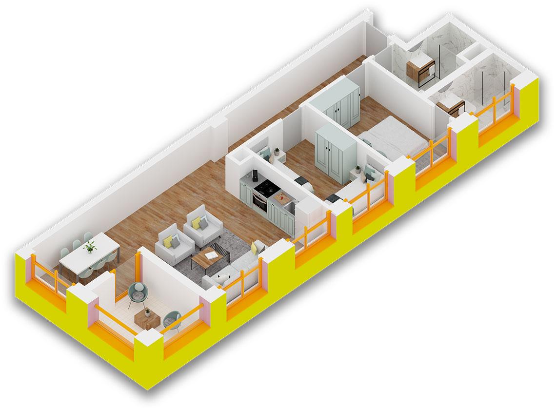 Apartament 2+1 në shitje në Tiranë - Mangalem 21 Shkalla 17 Kati 6