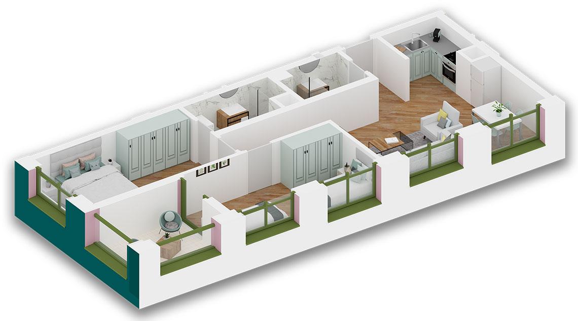 Apartament 2+1 në shitje në Tiranë - Mangalem 21 Shkalla 19 Kati 2