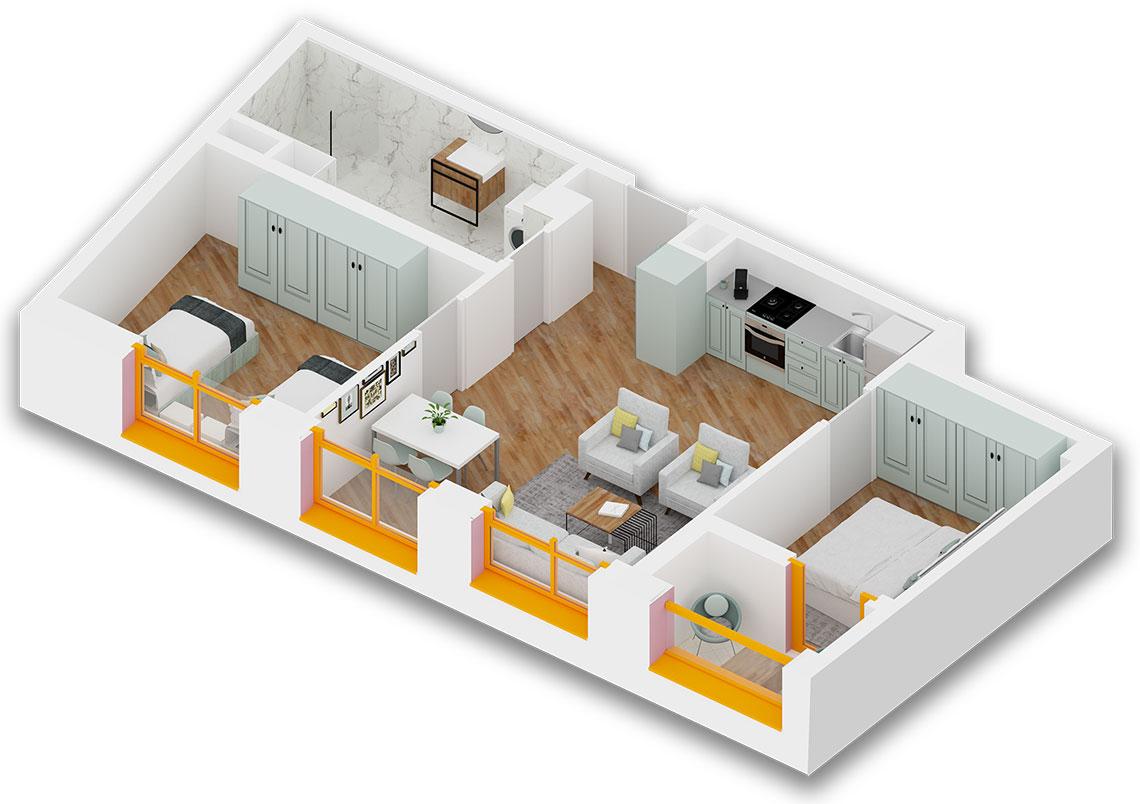 Apartament 2+1 në shitje në Tiranë - Mangalem 21 Shkalla 19 Kati 3