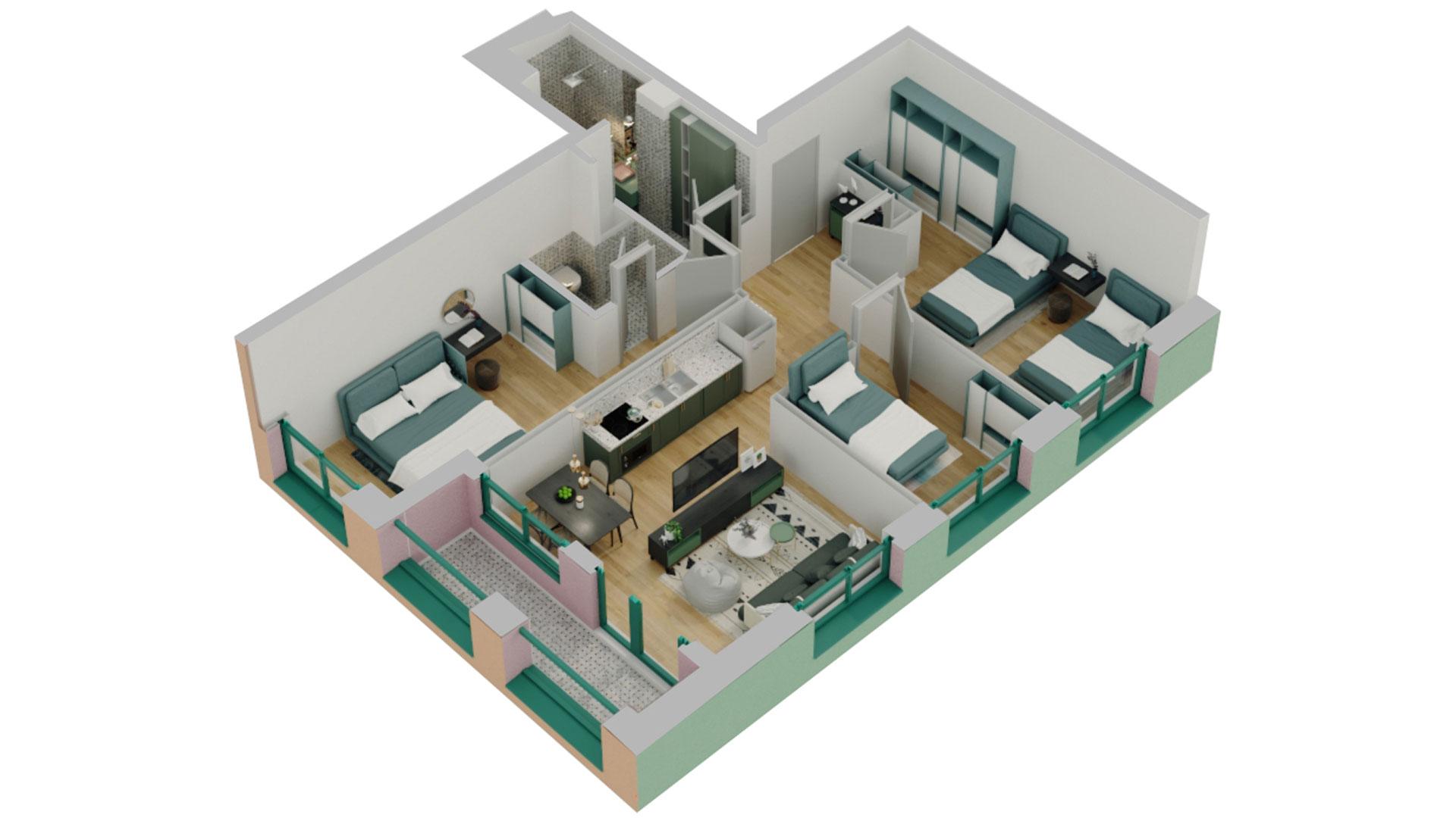 Apartament 3+1 në shitje në Tiranë - Mangalem 21 Shkalla 16 Kati 3