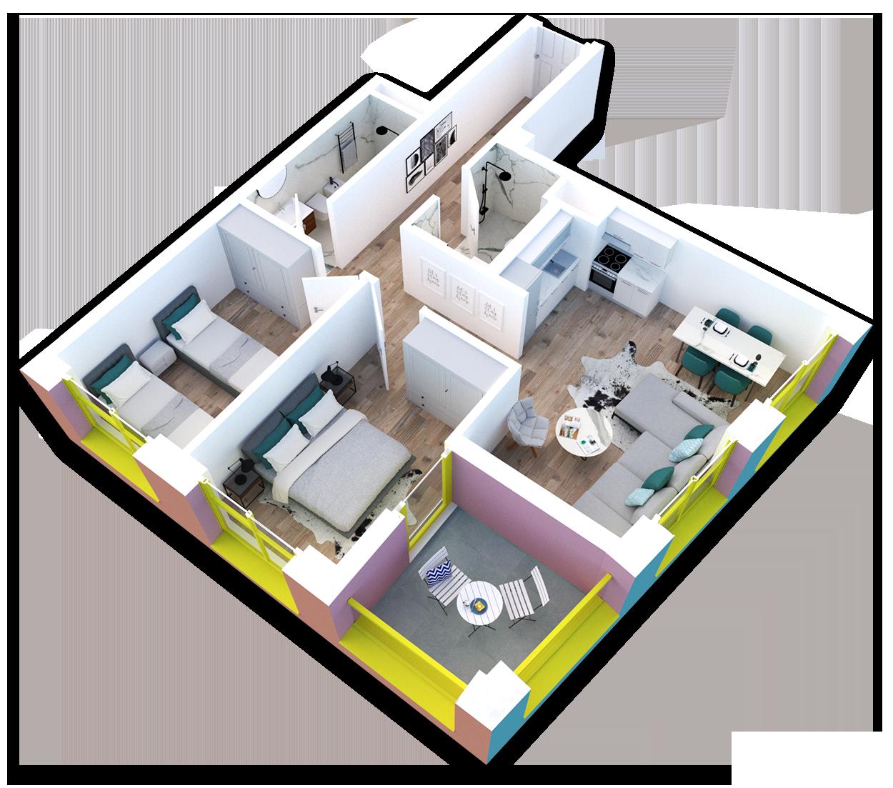 Apartament 2+1 në shitje në Tiranë - Mangalem 21 Shkalla 20 Kati 4