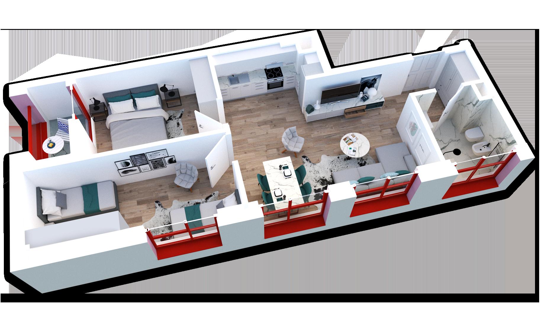 Apartament 2+1 në shitje në Tiranë - Mangalem 21 Shkalla 20 Kati 6
