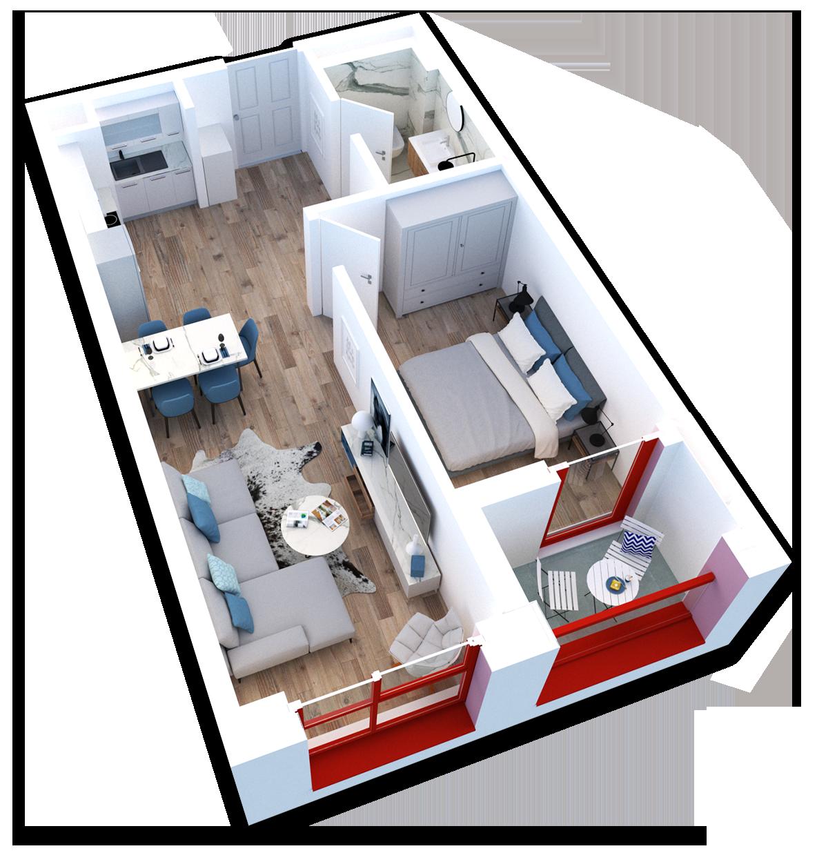 Apartament 1+1 në shitje në Tiranë - Mangalem 21 Shkalla 20 Kati 5