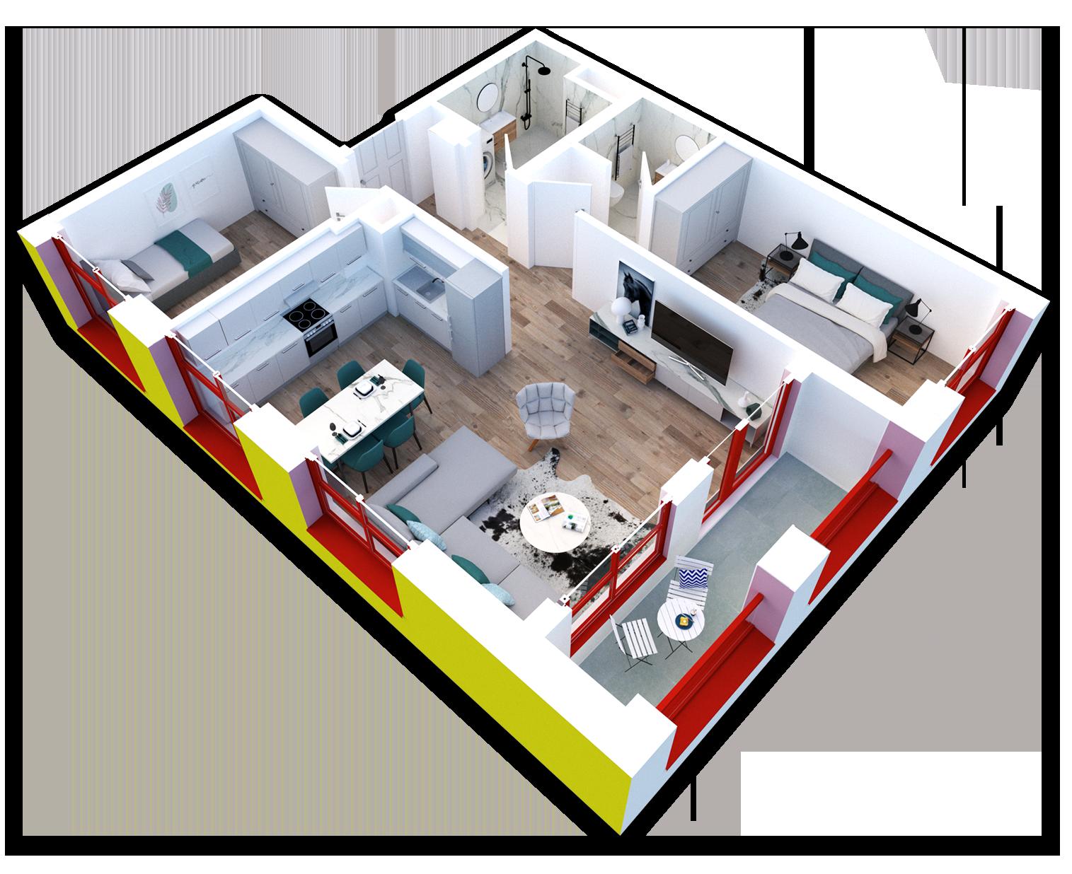 Apartament 2+1 në shitje në Tiranë - Mangalem 21 Shkalla 20 Kati 5