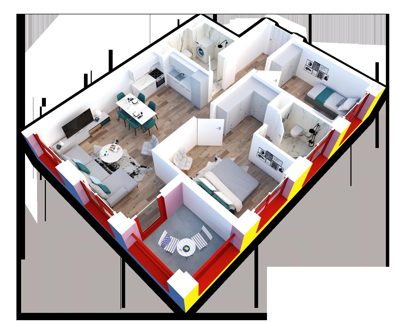 Apartament 2+1 në shitje në Tiranë - Mangalem 21 Shkalla 20 Kati 7