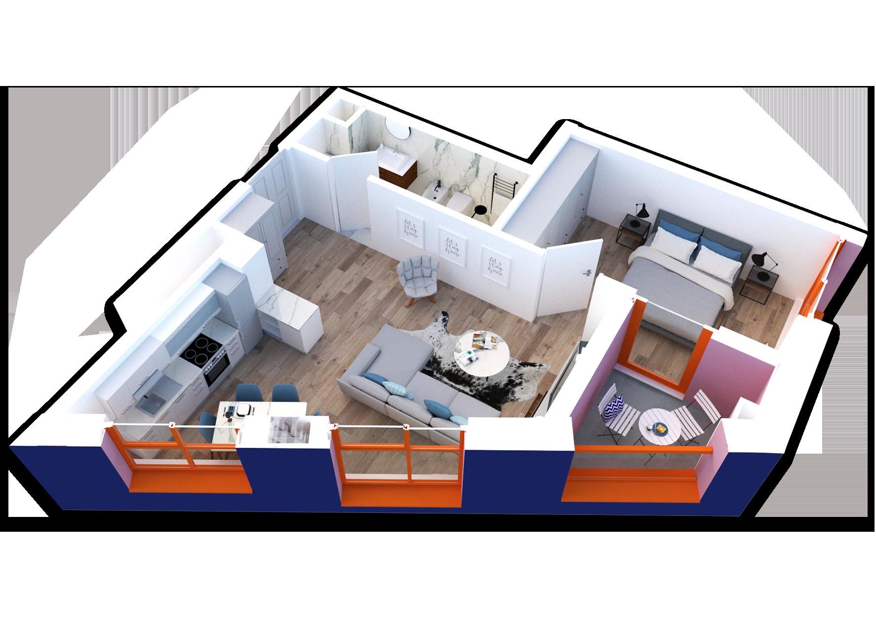 Apartament 1+1 në shitje në Tiranë - Mangalem 21 Shkalla 21 Kati 5