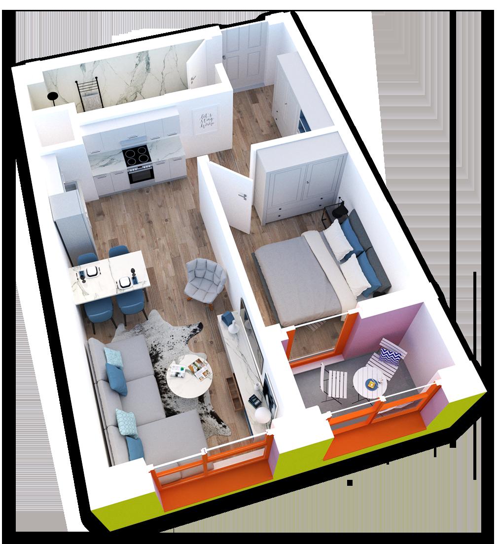 Apartament 1+1 në shitje në Tiranë - Mangalem 21 Shkalla 21 Kati 3