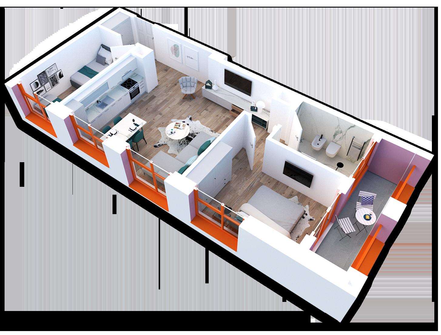 Apartament 2+1 në shitje në Tiranë - Mangalem 21 Shkalla 21 Kati 5