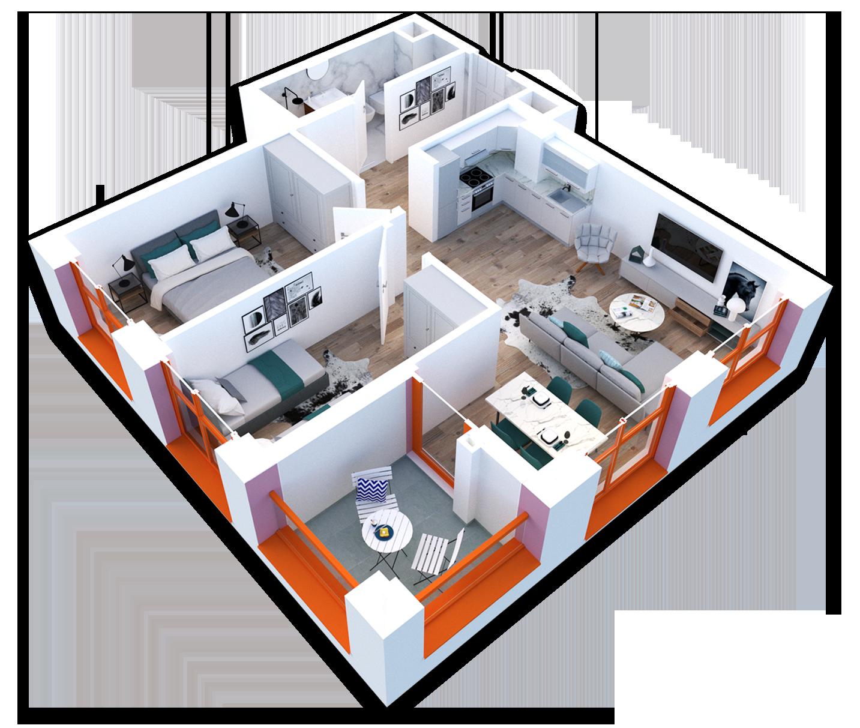 Apartament 2+1 në shitje në Tiranë - Mangalem 21 Shkalla 21 Kati 3