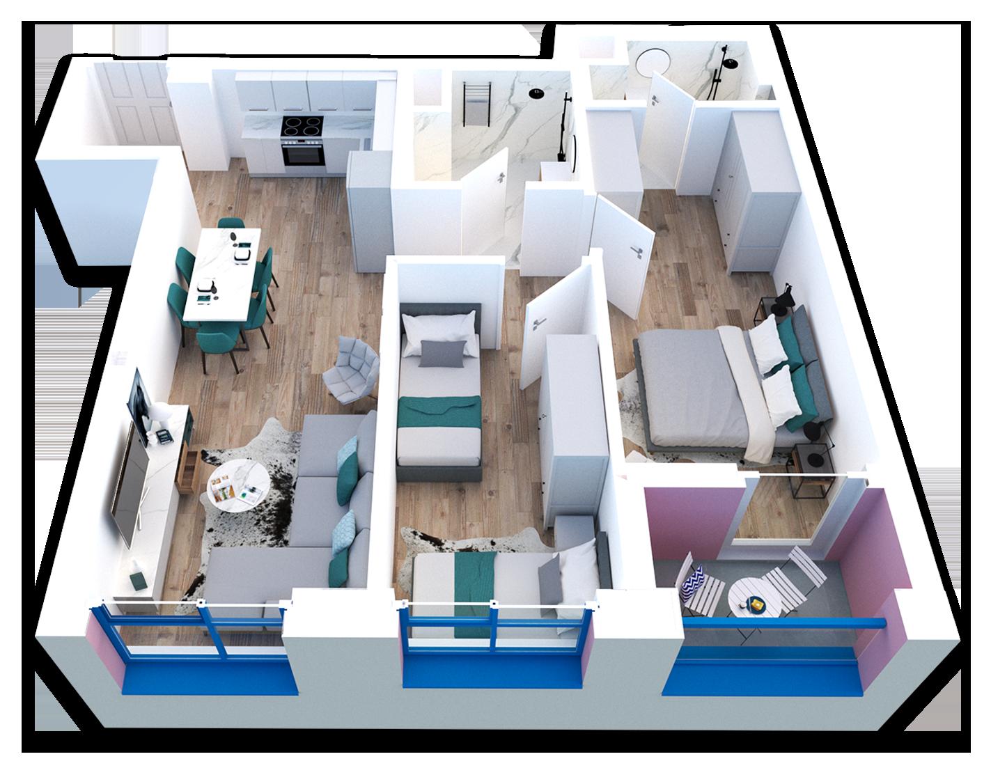 Apartament 2+1 në shitje në Tiranë - Mangalem 21 Shkalla 22 Kati 3