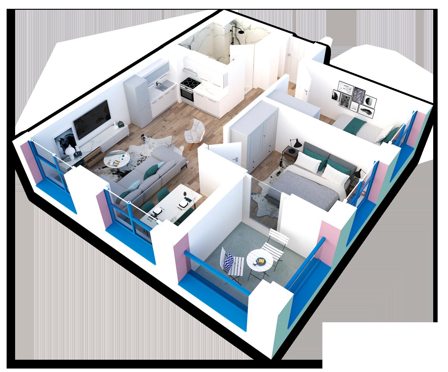 Apartament 2+1 në shitje në Tiranë - Mangalem 21 Shkalla 22 Kati 4