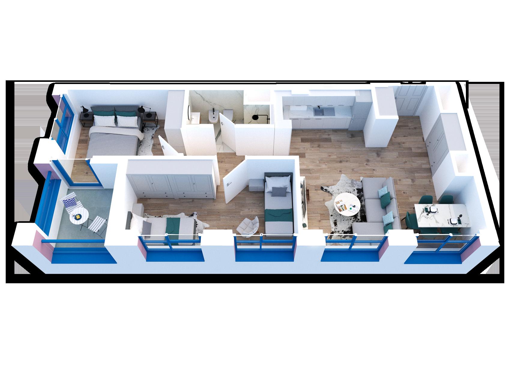 Apartament 2+1 në shitje në Tiranë - Mangalem 21 Shkalla 22 Kati 7