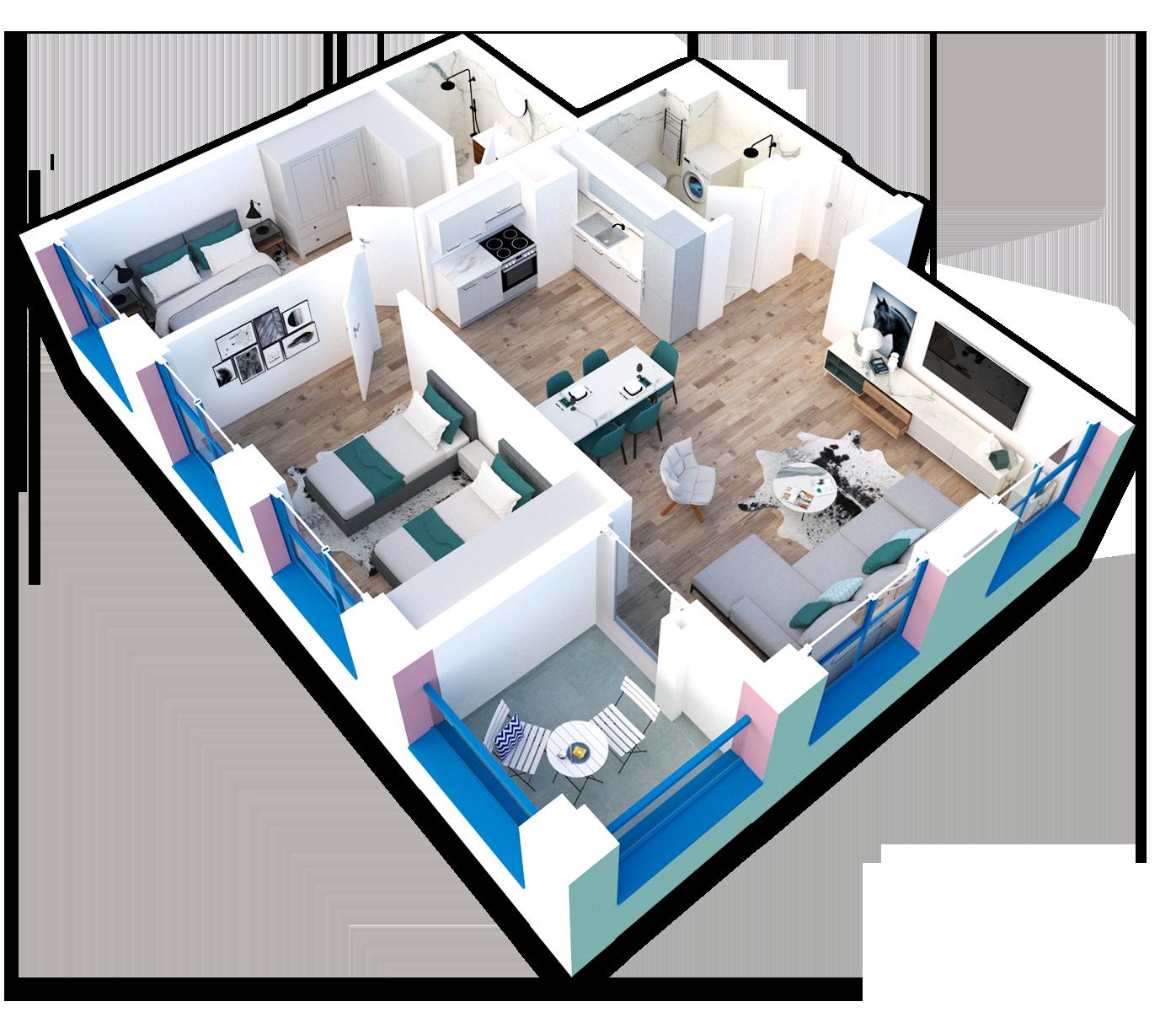 Apartament 2+1 në shitje në Tiranë - Mangalem 21 Shkalla 22 Kati 8