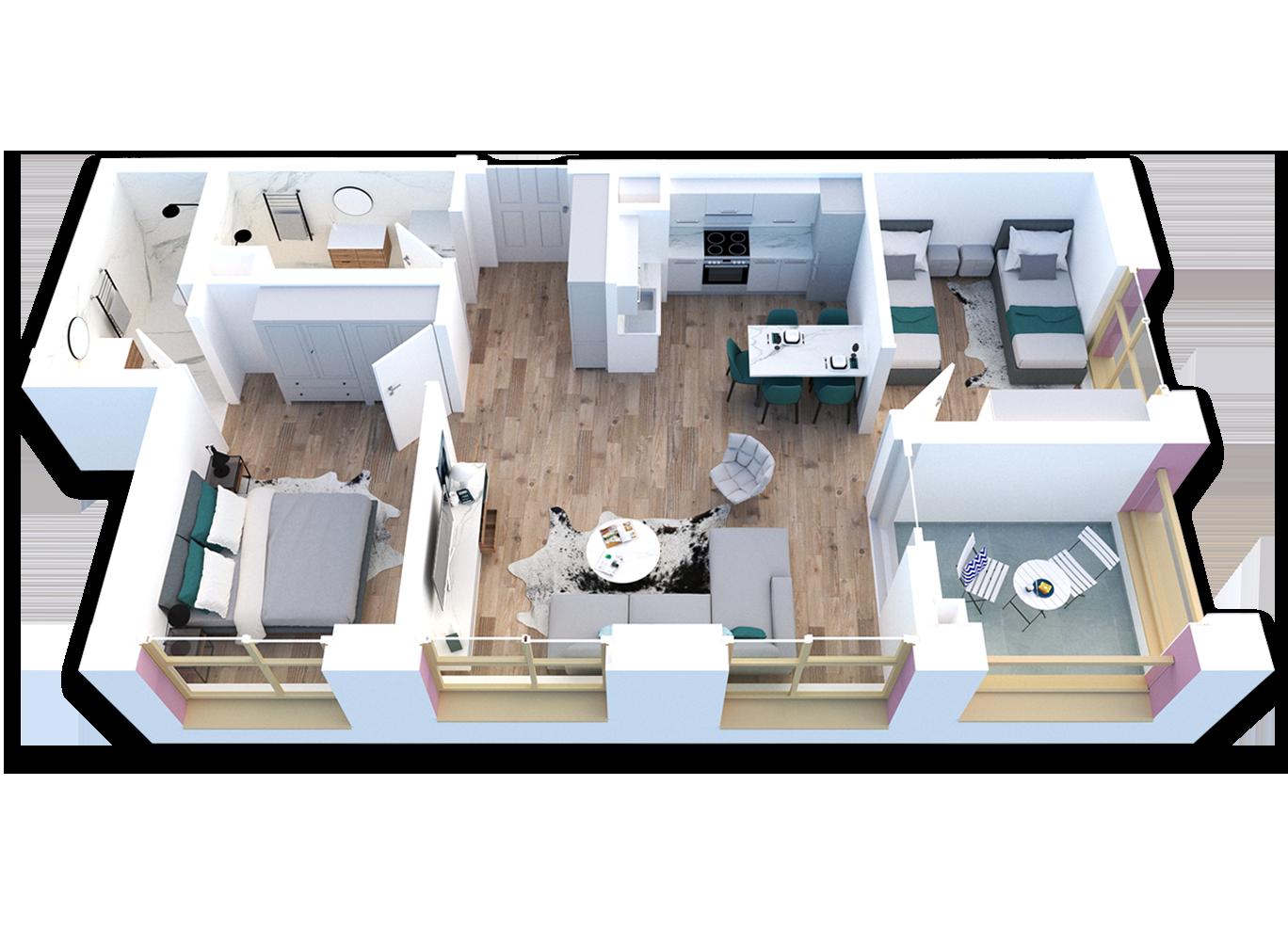 Apartament 2+1 në shitje në Tiranë - Mangalem 21 Shkalla 23 Kati 4