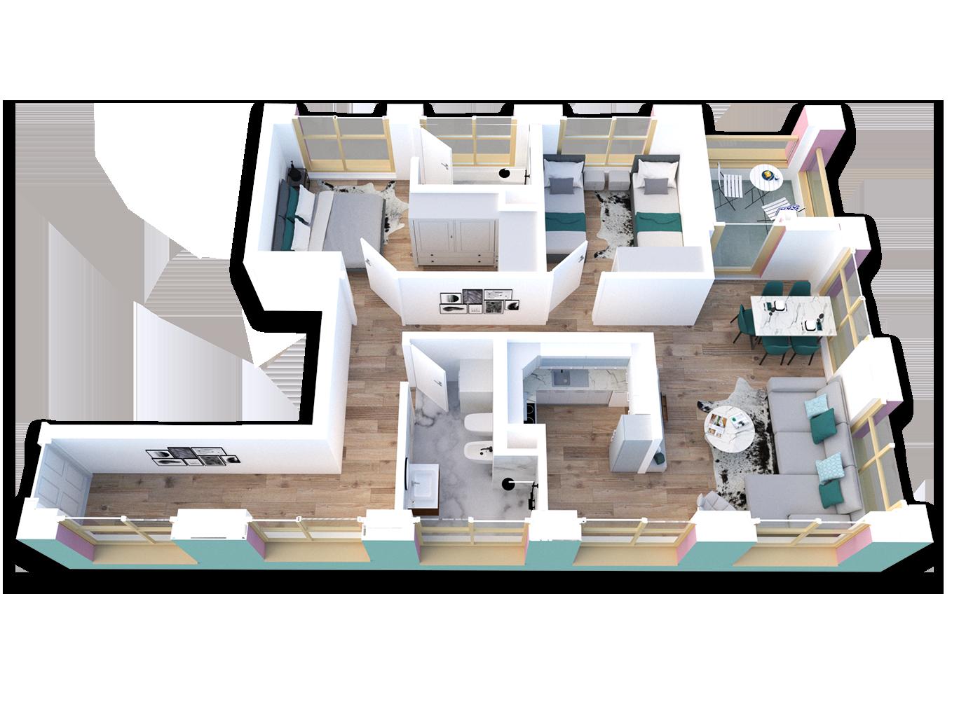 Apartament 2+1 në shitje në Tiranë - Mangalem 21 Shkalla 23 Kati 3