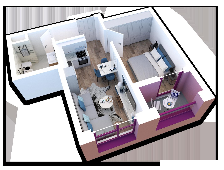Apartament 1+1 në shitje në Tiranë - Mangalem 21 Shkalla 23 Kati 3