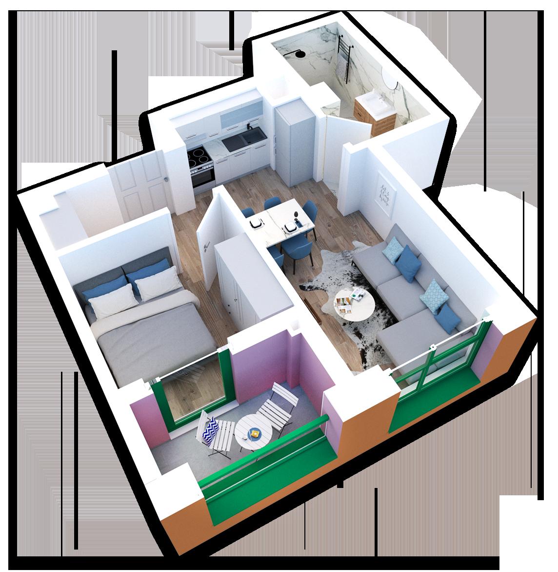 Apartament 1+1 në shitje në Tiranë - Mangalem 21 Shkalla 23 Kati 6