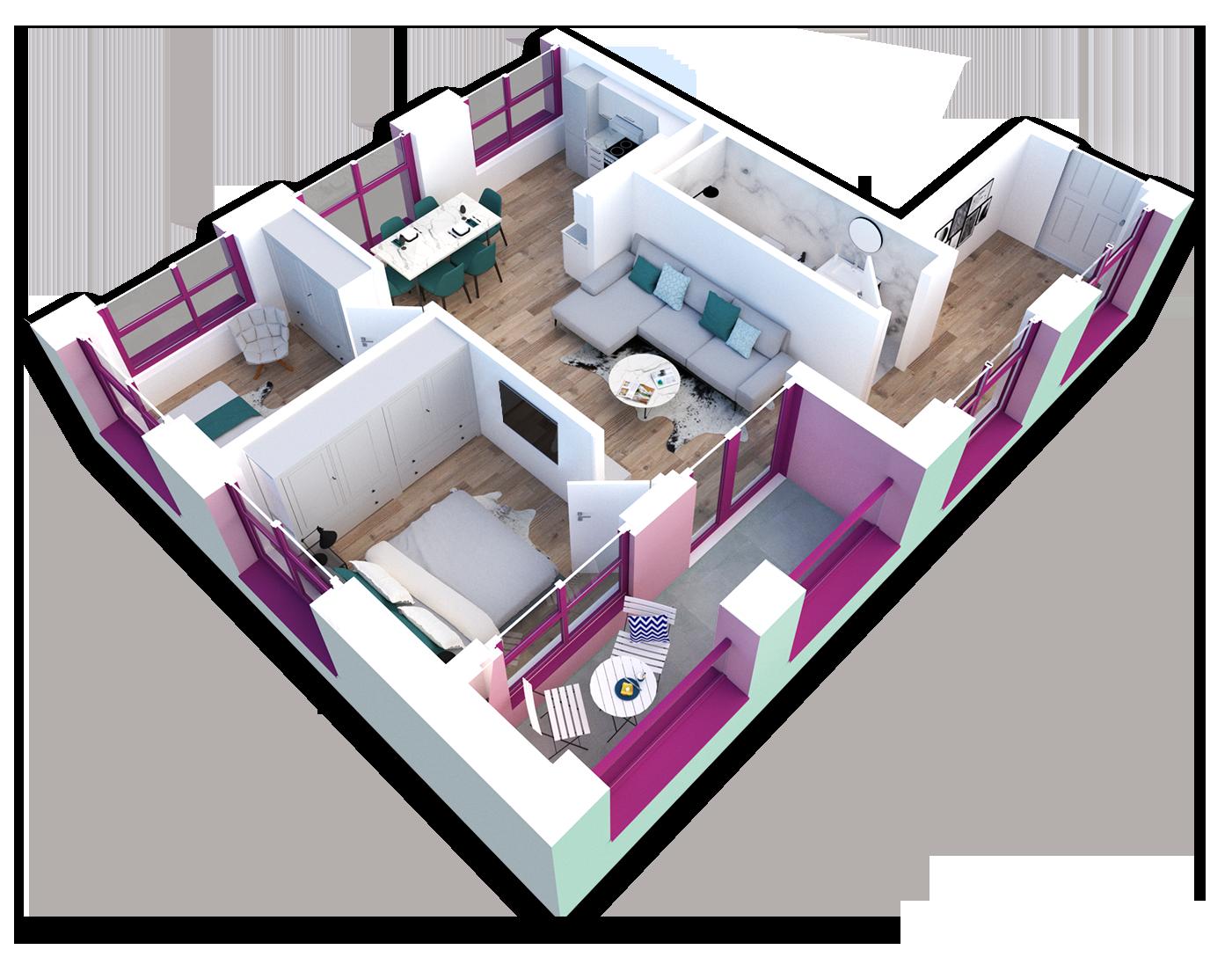 Apartament 2+1 në shitje në Tiranë - Mangalem 21 Shkalla 23 Kati 6
