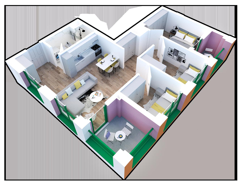 Apartament 3+1 në shitje në Tiranë - Mangalem 21 Shkalla 23 Kati 8