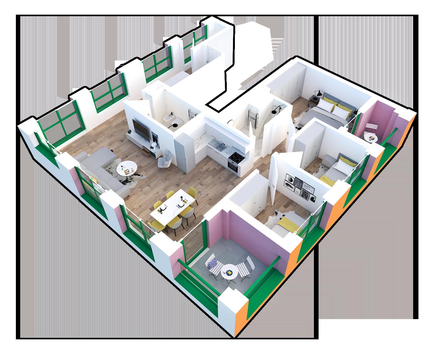 Apartament 3+1 në shitje në Tiranë - Mangalem 21 Shkalla 23 Kati 9