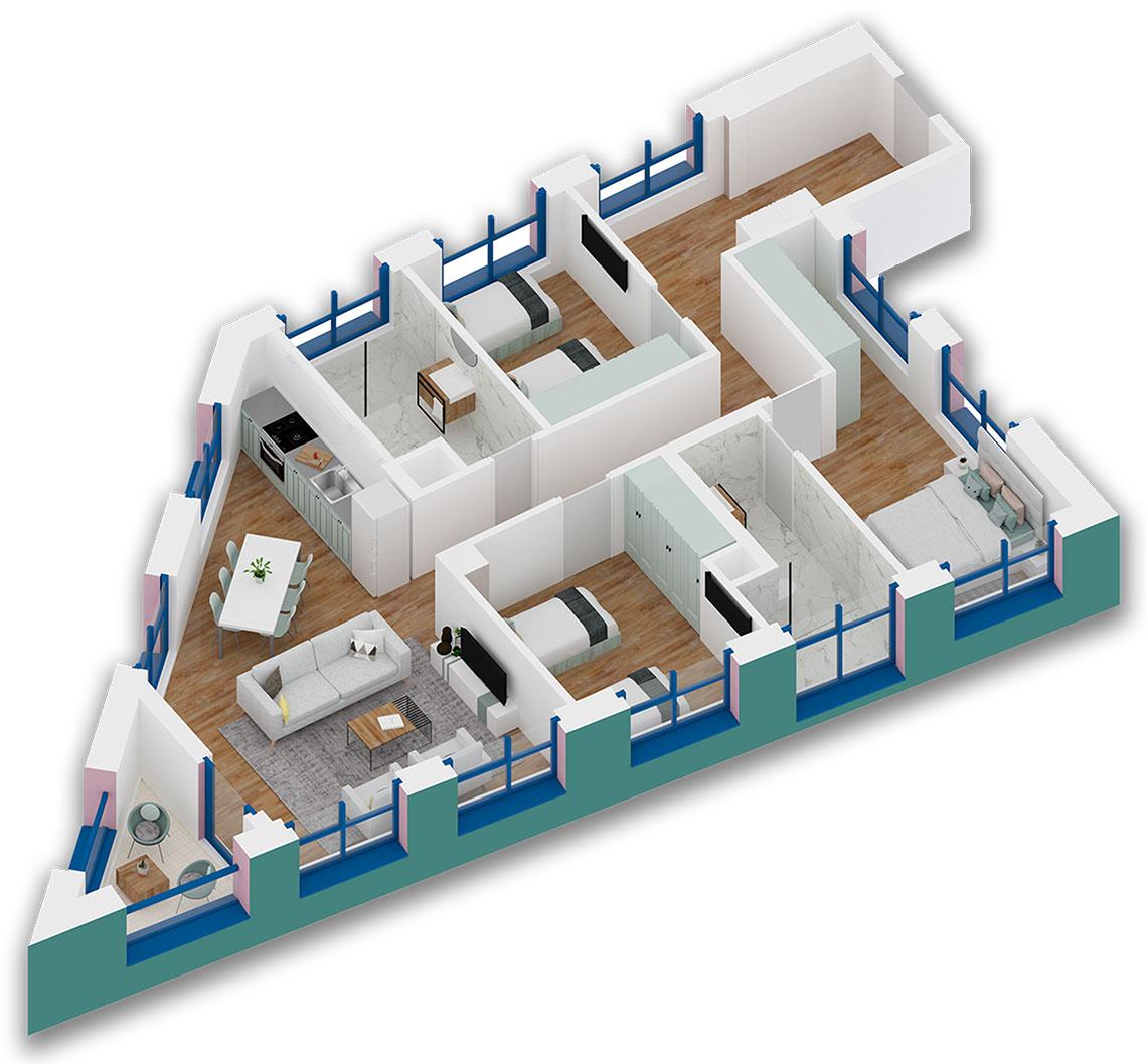 Apartament 3+1 në shitje në Tiranë - Mangalem 21 Shkalla 24 Kati 3