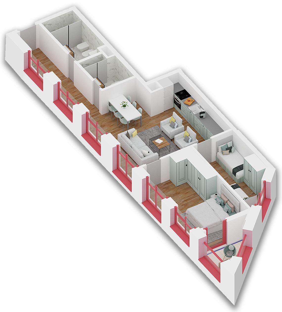 Apartament 2+1 në shitje në Tiranë - Mangalem 21 Shkalla 24 Kati 6